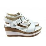 Анатомични дамски сандали от естествена кожа ГР 10003 бял