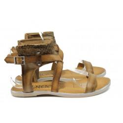 Анатомични дамски сандали от естествена кожа ИО 15100 бежов