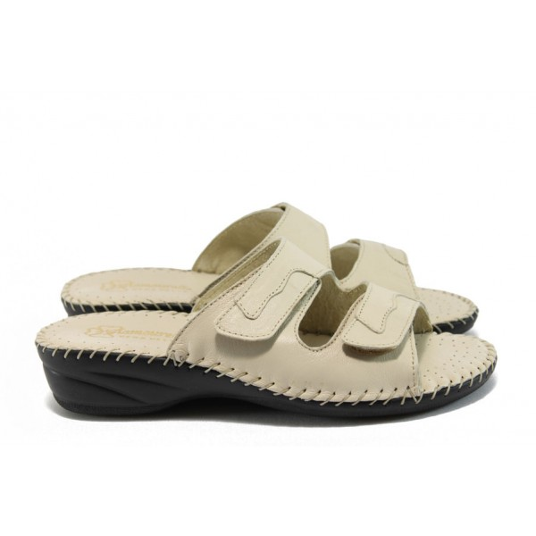 Дамски ортопедични чехли от естествена кожа ГР 7212 бежов