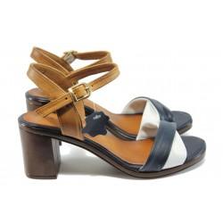 Дамски сандали от естествена кожа МИ 3812 син-бял
