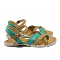 Анатомични дамски сандали от естествена кожа ИО 15102 зелен-кафяв