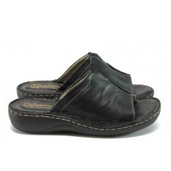 Анатомични дамски чехли от естествена кожа - тип сабо ГР 305380 черен
