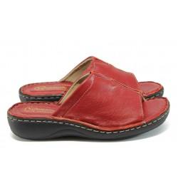 Анатомични дамски чехли от естествена кожа - тип сабо ГР 305380 червен