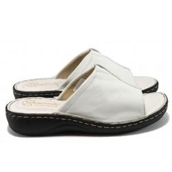 Анатомични дамски чехли от естествена кожа - тип сабо ГР 305380 бял
