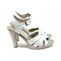 Анатомични дамски сандали от естествена кожа НЛ 202-7976 бял
