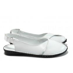 Равни дамски сандали от естествена кожа МИ 700 бял