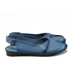 Равни дамски сандали от естествена кожа МИ 700 син