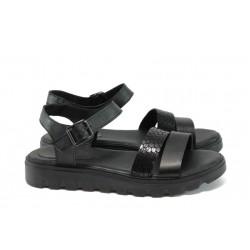 Анатомични равни сандали от естествена кожа НБ 15445-939 черен