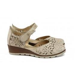Ортопедични дамски обувки на платформа НБ 16233-867 бежов