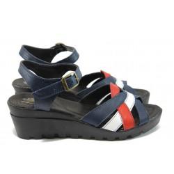 Анатомични сандали на платформа НЛ 202-15431 т.син