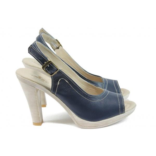 Анатомични сандали на висок ток НЛ 204-7976 син