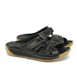Анатомични чехли от естествена кожа МИ 620 черен