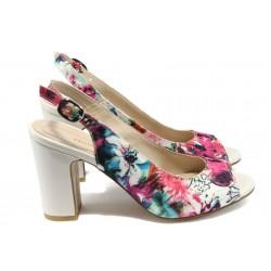 Стилни дамски сандали на висок ток МИ 985 бял