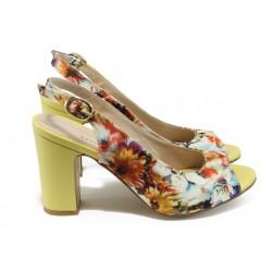 Стилни дамски сандали на висок ток МИ 985 жълт