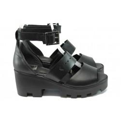 Български анатомични сандали от естествена кожа НБ 66305-999 черен
