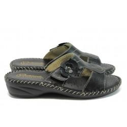 Български анатомични чехли от естествена кожа ГР 7293 черен