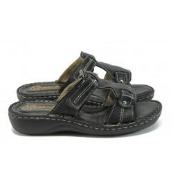 Български анатомични чехли от естествена кожа ГР 8520 черен