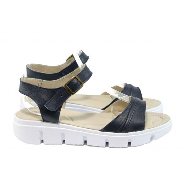 Анатомични български сандали от естествена кожа НЛ 239-382 син