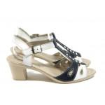Български анатомични сандали на среден ток НЛ 206-4810 бял-син