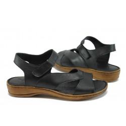 Анатомични равни сандали от естествена кожа МИ 210 черен