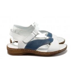 Анатомични равни сандали от естествена кожа МИ 210 бял