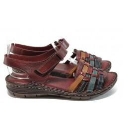 Анатомични равни сандали от естествена кожа МИ 27078 бордо