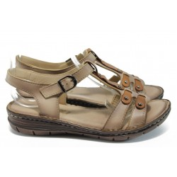 Анатомични равни сандали от естествена кожа МИ 27081 бежов
