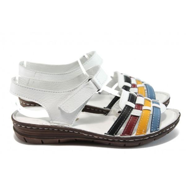 Анатомични равни сандали от естествена кожа МИ 27078 бял