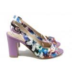 Стилни дамски сандали на висок ток МИ 985 лилав