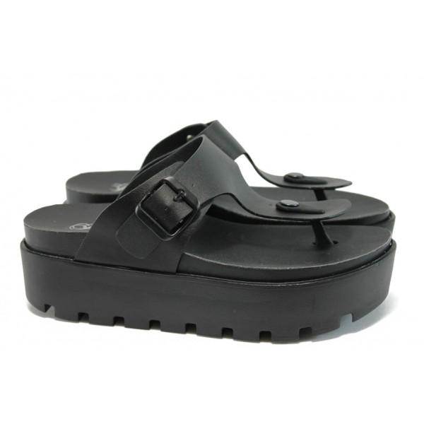 Дамски анатомични чехли на платформа Jump 13536 черен