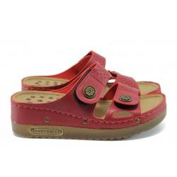 Анатомични дамски чехли на платформа Jump 13357 червен