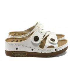 Анатомични дамски чехли на платформа Jump 13357 бял