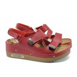 Анатомични дамски сандали на платформа Jump 13354 червен