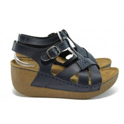 Анатомични дамски сандали на платформа Jump 13401 син