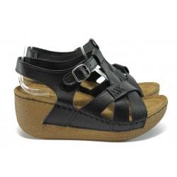 Анатомични дамски сандали на платформа Jump 13401 черен
