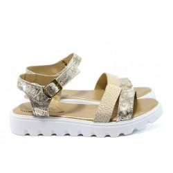 Анатомични равни сандали от естествена кожа НБ 15445-939 злато