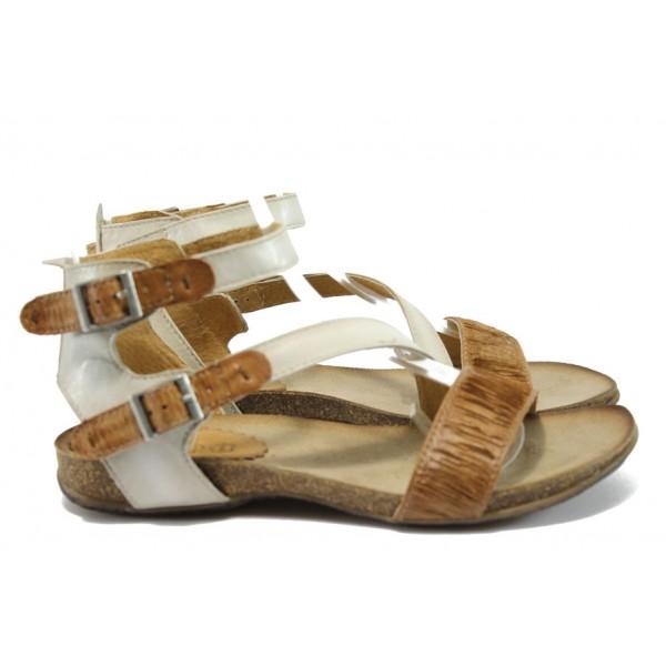 Анатомични дамски сандали от естествена кожа ИО 1681 кафяв-бял