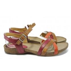 Анатомични дамски сандали от естествена кожа ИО 1683 червен