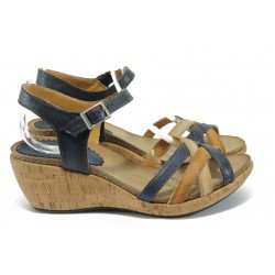 Анатомични дамски сандали на платформа ИО 1574 син-бежов
