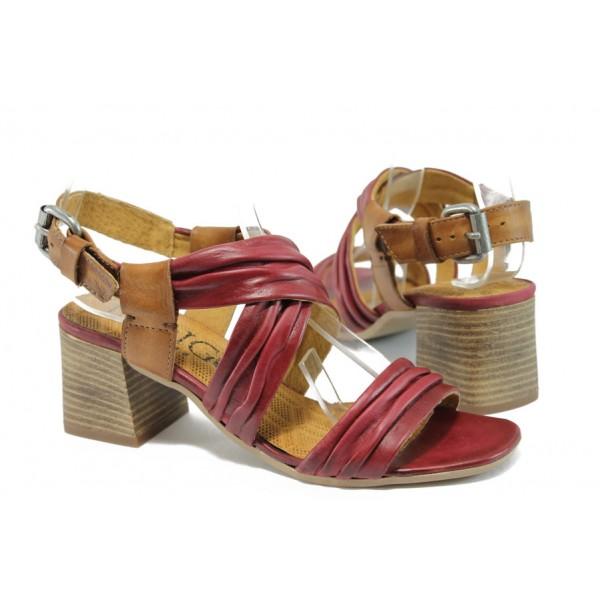 Анатомични дамски сандали от естествена кожа ИО 1471 червен