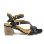 Анатомични дамски сандали от естествена кожа ИО 1673 черен