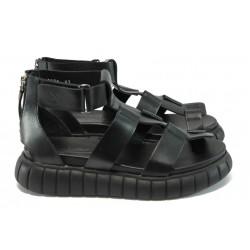 Български анатомични сандали от естествена кожа НИ 8-8231 черен