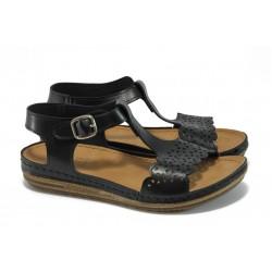Анатомични равни дамски сандали Jump 10755 черен