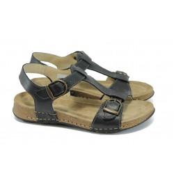 Анатомични равни дамски сандали ГР 15041-157 черен