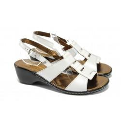 Анатомични дамски сандали на ток ГР 6973 бял