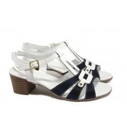 Анатомични дамски сандали от естествена кожа МИ 30-84-06 бял-син