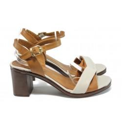 Дамски сандали от естествена кожа МИ 3812 бежов-кафяв