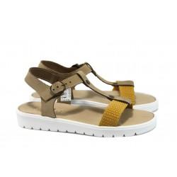 Анатомични дамски сандали от естествена кожа ГР 3404 жълт