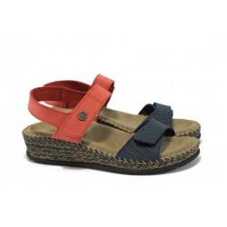 Ортопедични дамски сандали на платформа ГР 14927 червен-син