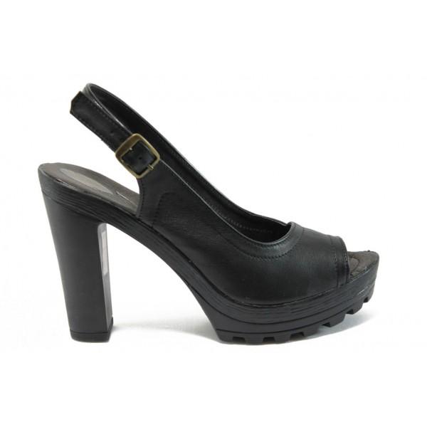 Анатомични дамски сандали от естествена кожа НЛ 204-15493 черен